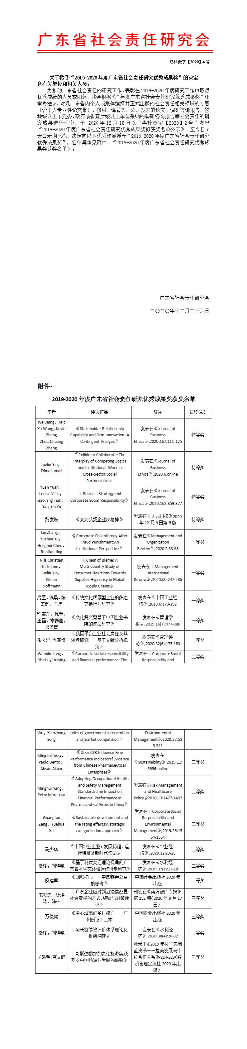 """关于授予""""2019-2020年度广东省社会责任研究优秀成果奖""""的决定"""